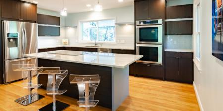 kitchen with dark cardboard