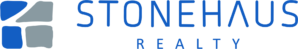 blue and grey Stonehaus Realty logo